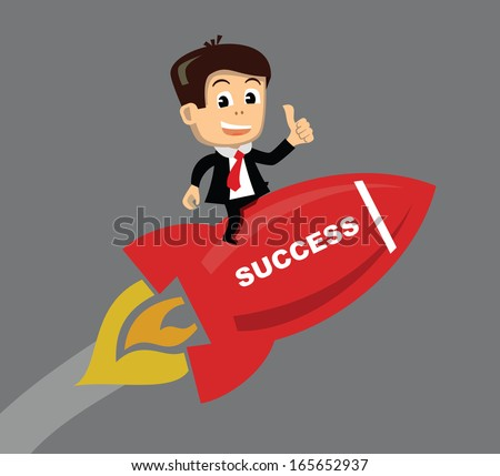 vector businessman flying on the rocket - stock vector