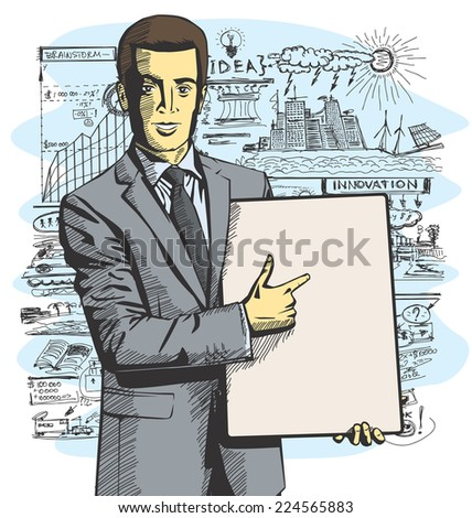 Vector businessman holding empty write board in his hands - stock vector