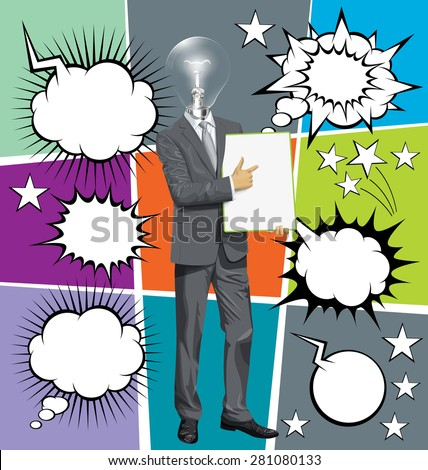 Vector businessman holding empty write board in his hands, with speech and thought bubbles - stock vector