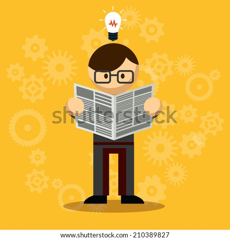 Vector Businessman Reading Newspaper with bulb above the head  Emphasizing New Knowledge. Isolated on Orange Background - stock vector