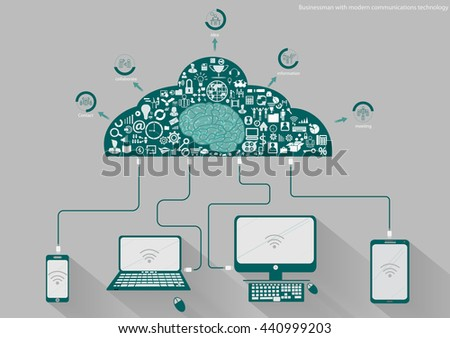 Vector Businessman with modern mobile communication technology, Tablet PC and Notebook task, leveraging business icon styles. Used for work flat design - stock vector