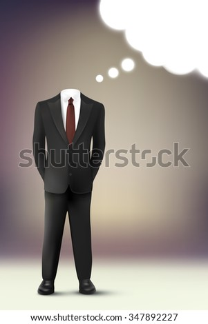 vector businessman with thought cloud - stock vector