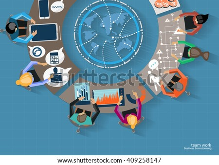 Vector Businessmen brainstorm meeting in the office and the mobile tablet technology to communicate with customers worldwide  flat design - stock vector