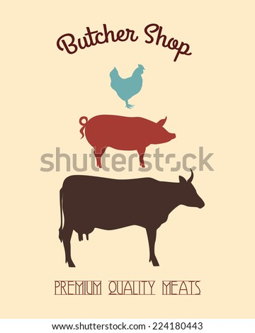 Vector butcher shop banner with cow, pig and chicken silhouettes made in retro style. - stock vector