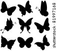 vector, butterflies, black silhouettes on white background - stock vector