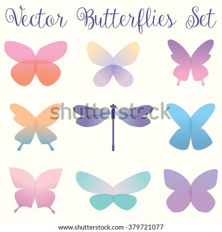 Vector Butterflies set - eps10 - stock vector