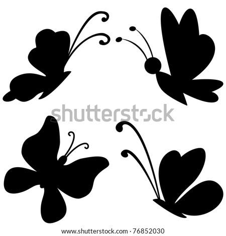 Vector, butterflies with opened wings, black silhouettes on white background - stock vector