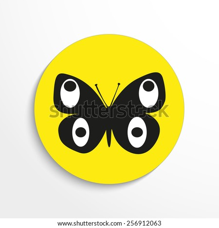 Vector butterfly flat icon. Eps 10 illustration. - stock vector