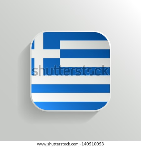 Vector Button - Greece Flag Icon on White Background - stock vector
