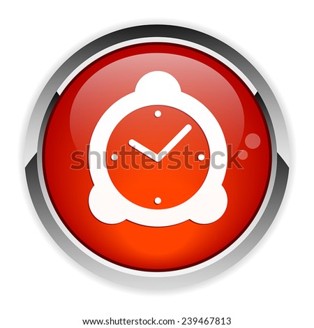 Vector button hours white background - stock vector