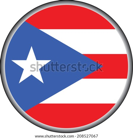 vector button of puerto rico flag badge - stock vector