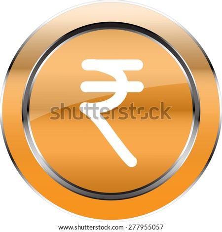 Vector Button Rupee currency symbol - stock vector