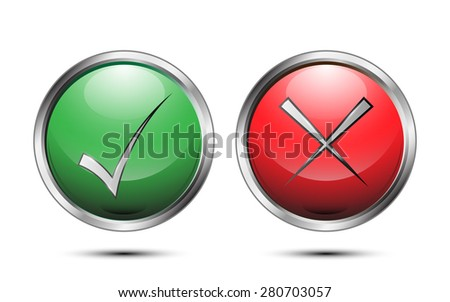 vector button sign check correct and incorrect on white background - stock vector