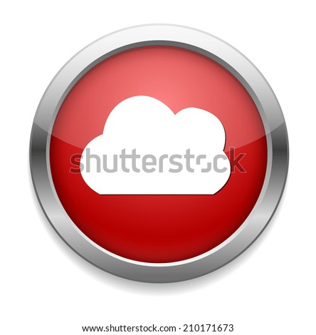 Vector  button with cloud icon - stock vector