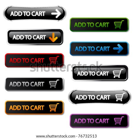 Vector buttons - add to cart - stock vector