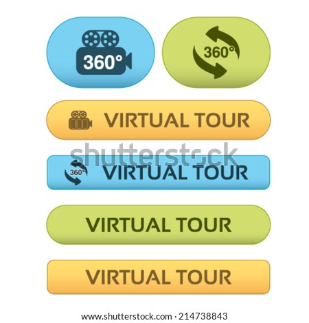 Vector buttons for virtual tour, blue, green and orange labels - stickers with arrows and camera - stock vector