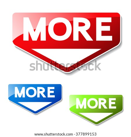 Vector buttons for website or app. Button - More. Red, green and blue symbol of arrow. It can use text read more, learn more, download and other text - stock vector