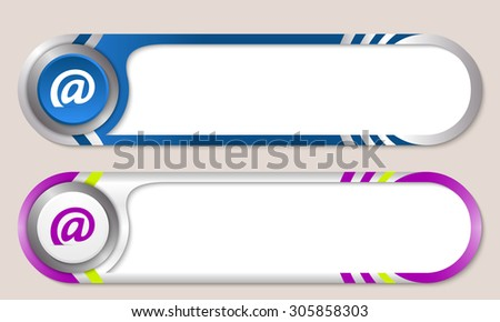 Vector buttons for your text and email symbol - stock vector