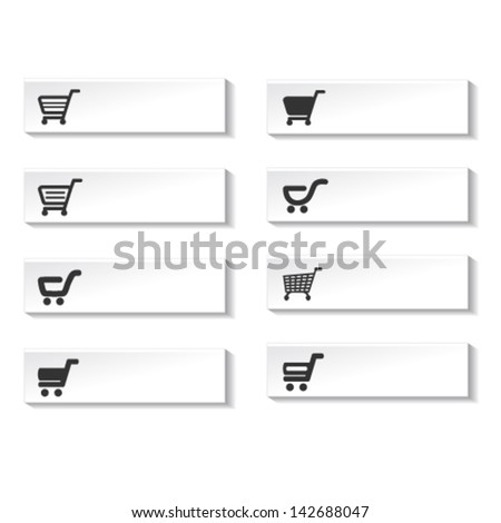 Vector buttons of shopping cart, trolley, item  - stock vector