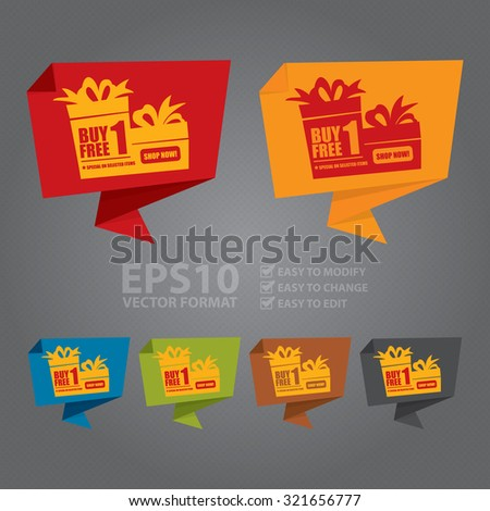 Vector : Buy 1 Free 1 Special On Selected Items Shop Now! Origami Speech Bubble or Speech Balloon Infographics Sticker, Label, Sign or Icon  - stock vector