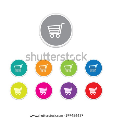 Vector - Buy now button, Round stickers. - stock vector