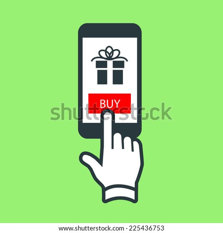 Vector buying gift online on smartphone with one finger electronic business and technology icon | flat design pictogram isolated on green background - stock vector