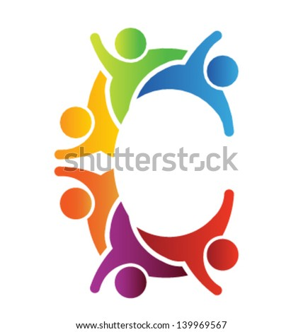 Vector C letter people - stock vector