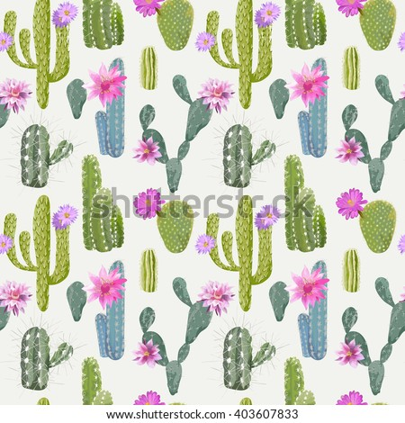 Vector Cactus Background. Seamless Pattern. Exotic Plant. Tropical. - stock vector