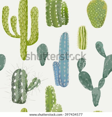 Vector Cactus Background. Seamless Pattern. Exotic Plant. Tropical Background. - stock vector