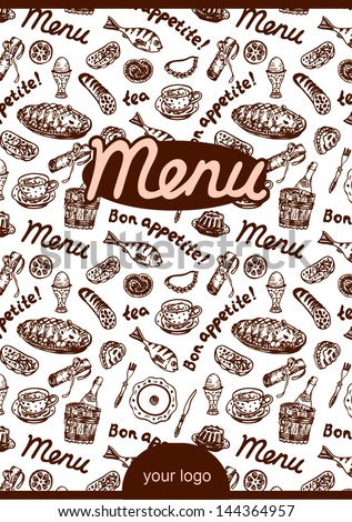 vector Cafe or restaurant menu on the white background in retro style with space for you logo and text - stock vector