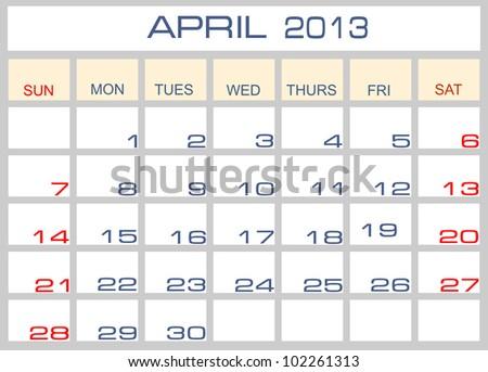 Vector calendar April  2013 - stock vector