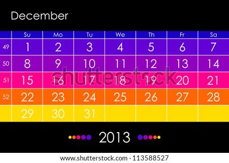 Vector calendar 2013 - December - stock vector