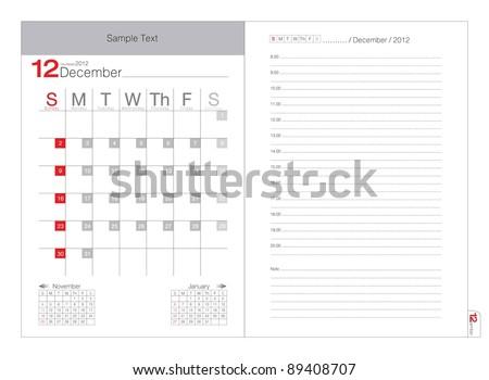 Vector calendar 2012 December - stock vector