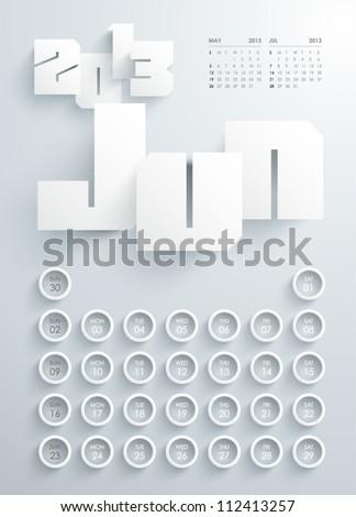 Vector 2013 Calendar Design - Jun - stock vector