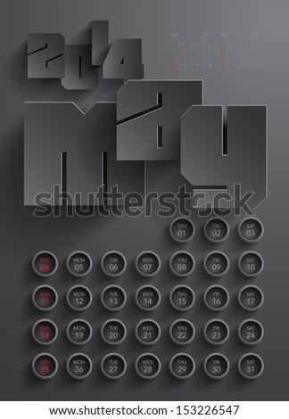 Vector 2014 Calendar Design - May - stock vector