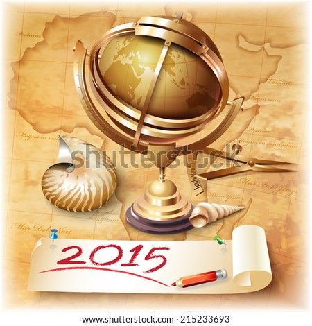 Vector calendar for 2015 with navigational and geographical tools - stock vector