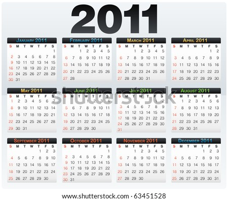 Vector Calendar grid 2011 year english layout - stock vector