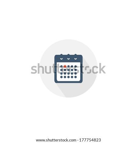 Vector calendar icon. Flat design with long shadow - stock vector