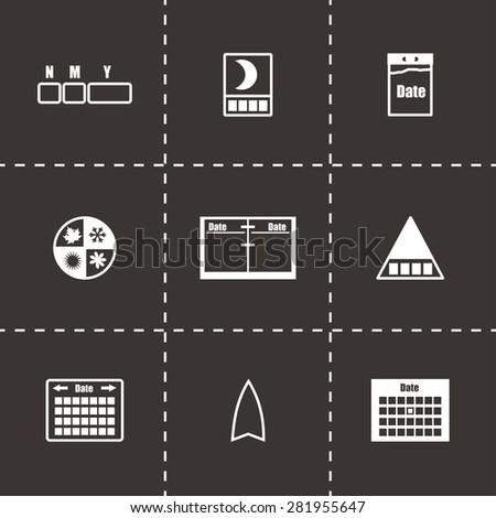 Vector Calendar icon set on black background - stock vector