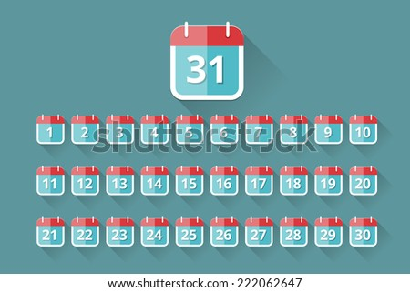 vector calendar icons with days of month in flat style - stock vector