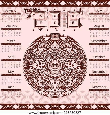 Vector calendar 2016 in aztec style - stock vector