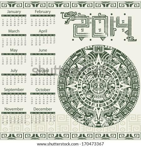 Vector calendar 2014 in mayan style - stock vector