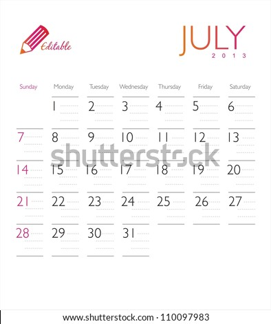 Vector calendar 2013 July - stock vector