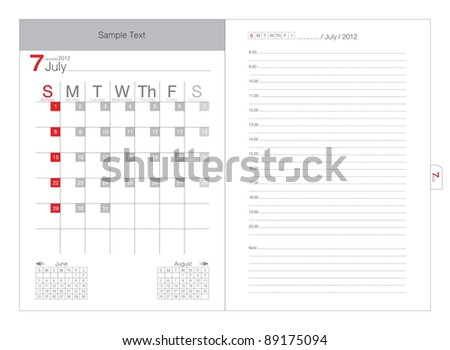 Vector Calendar 2012 July - stock vector
