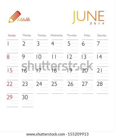 Vector calendar 2014 June - stock vector