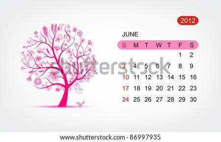 Vector calendar 2012, june. Art tree design - stock vector
