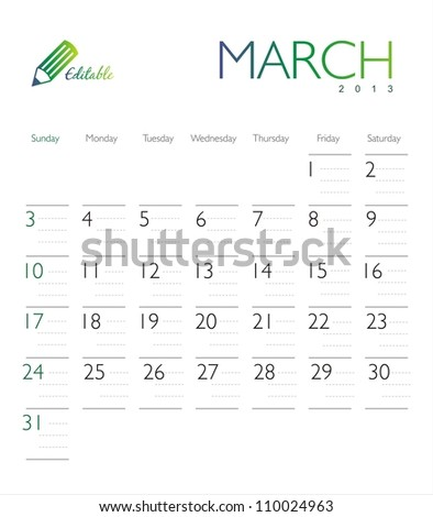 Vector calendar 2013 March - stock vector