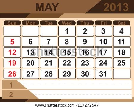Vector calendar MAY 2013 - stock vector