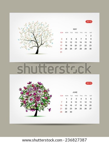 Vector calendar 2015, may and june months. Art tree design. Vector illustration - stock vector