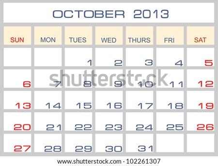 Vector calendar October 2013 - stock vector